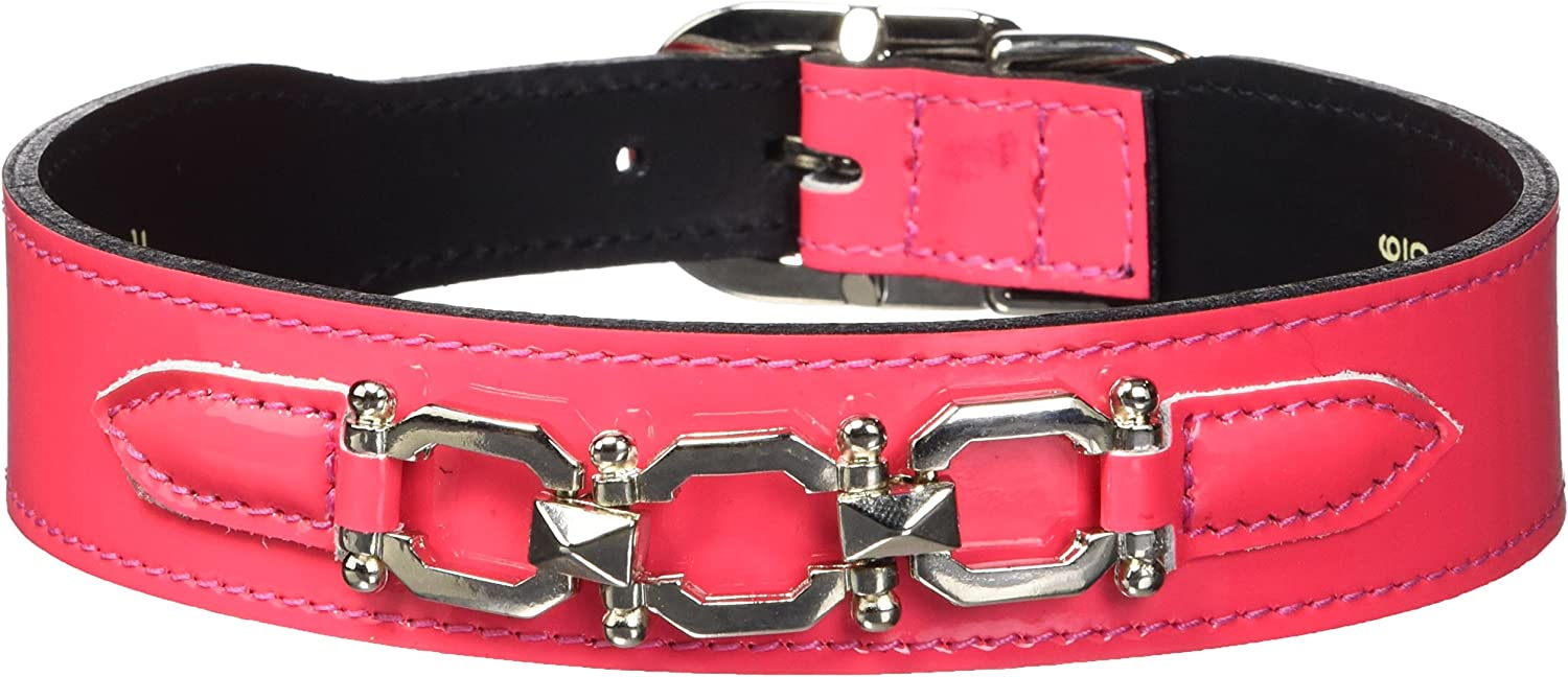 Hartman & pink 3399 Georgia Dog Collar, 16 to 18Inch, Hot Pink Patent