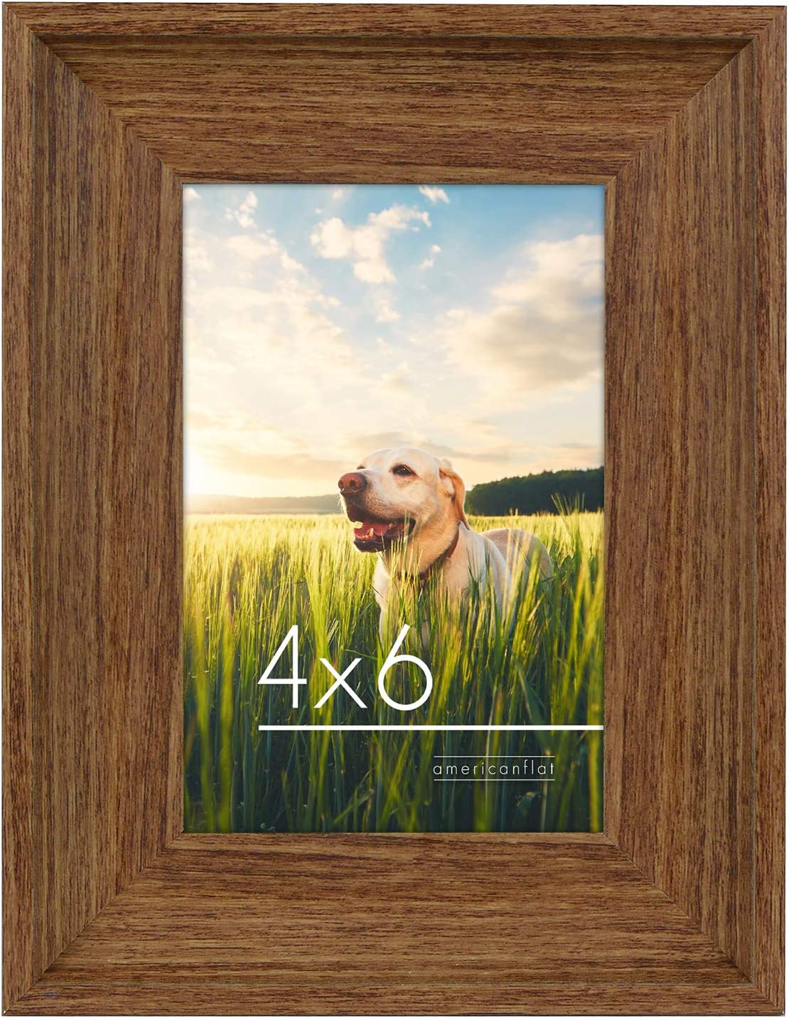 Americanflat 4x6 Rustic Lodge Picture Frame in Walnut Brown - Composite Wood with Polished Glass - Horizontal and Vertical Formats for Wall and Tabletop