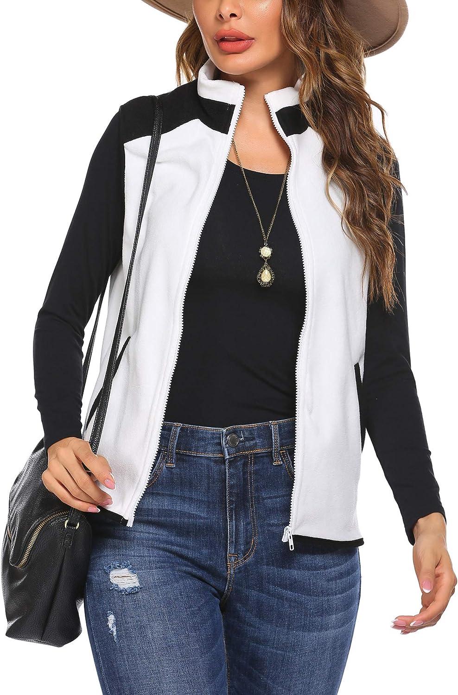 HOTLOOX Fleece Vest for Women Zipper Spring Winter Lightweight Sherpa Fuzzy Sleeveless Coat Sweater