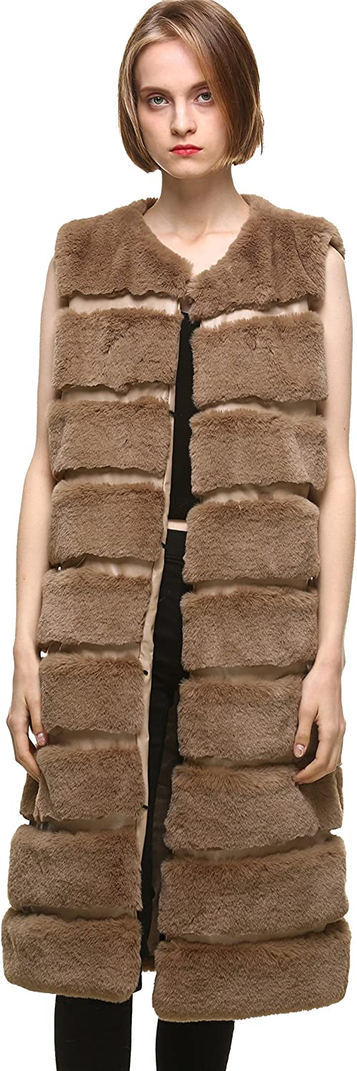 Vogueearth Women' Classic Faux Fur Rex Rabbit Autumn Winter Warm Long Vests