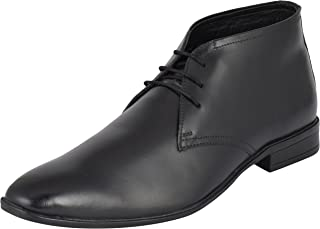 Auserio Men's Black Genuine Leather Chukka Boots