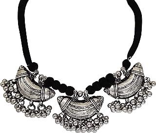 Total Fashion Antique Oxidised Designer Jewellery Choker Necklace Set for Women & Girls