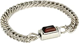 Simulated Tiger's Eye Rectangle Station Curb Chain Bracelet