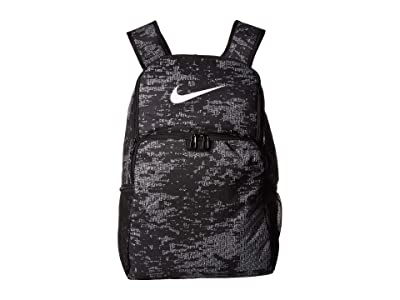 Nike Brasilia All Over Print XL Backpack 9.0 (Black/Black/White) Backpack Bags