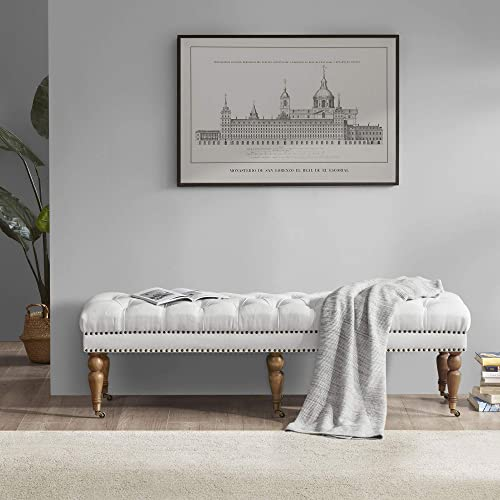 """new arrival BELLEZE high quality Brooke 62"""" Tufted Ottoman Bench with popular Rubber Wood Legs, Natural online sale"""