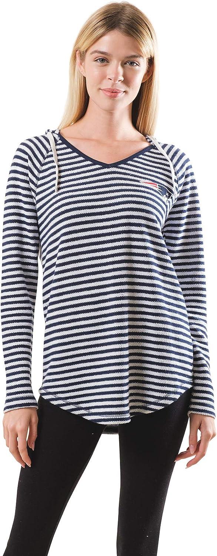 Ultra Game NFL Women's V-Neck Stripe Pullover Super special price Sweatshirt Hoodie Arlington Mall