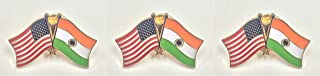 Pack of 3 India & US Crossed Double Flag Lapel Pins, Indian & American Friendship Pin Badge