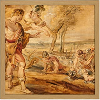 Peter Paul Rubens Cadmus Sådd Drakar Tänder Fyrkant Trä Inramad Väggkonst Tryck Bild 40 x 40 cm