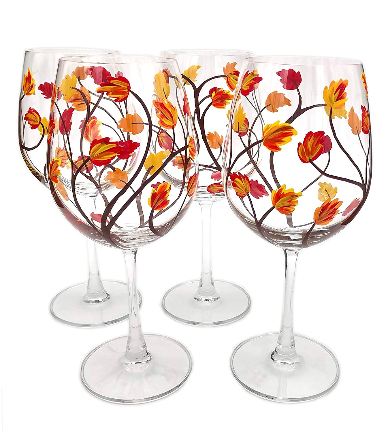 sale 4 Limited price Fall Leaf Stemmed Wine Glasses Hand - Painted of Set Four