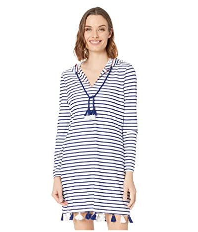 Cabana Life Essentials Coverluxe Hooded Cover-Up (Navy/White Stripe) Women