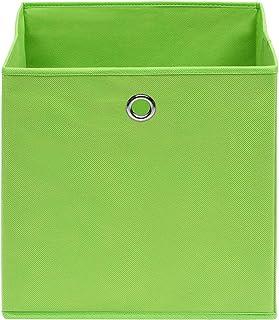 Festnight Boîtes de Rangement Ouvertes/Paniers de Rangement/Boîtes de Rangement 10 Pcs Tissu Intissé 28x28x28 cm Vert