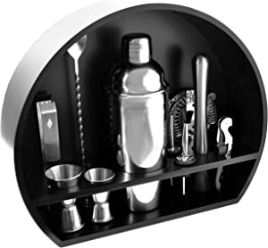 Bartender Kit: 10-Piece Stainless Steel Cocktail Shaker Set with Designed Black Wooden Stand for Home- Premium Bartending Kit for Experts and Beginners with Cocktail Recipes Booklet!