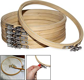 Set Bastidores 6 Piezas - Aros para Bordar 15cm de Bambú Punto de Cruz - Bastidores Tambor Ajustable Marcos Circulares - Bastidores Redondos para Manualidades, DIY, Costura (6 Pcs)