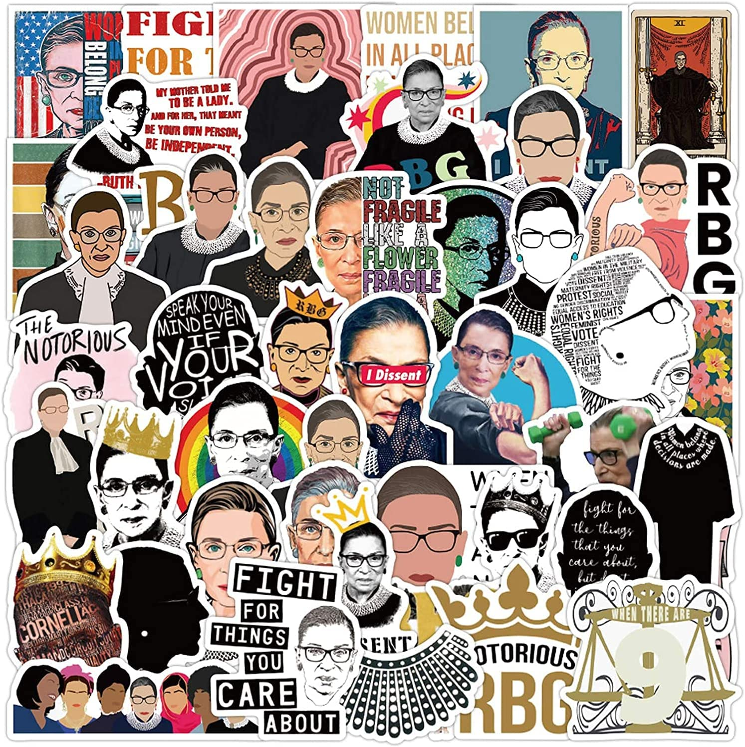 The Office Stickers - Ruth Bader Ginsburg (RBG) 100 pcs Computer Vinyl Stickers Waterproof, Friends Stickers for Laptop Skateboard Phone Water Bottle Luggage Decal Graffiti for Adults Teens Girls