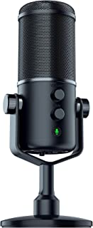 Razer Seiren Elite USB Streaming Microphone: Professional Grade High-Pass Filter - Built-In Shock Mount - Supercardiod Pick-Up Pattern - Anodized Aluminum - Matte Black