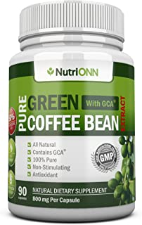 Green Coffee Bean Extract with GCA, 800mg - 90 Vegetarian Capsules - Best Value for Price! - Highest Quality Pure Natural ...