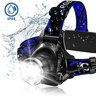 Headlamp, Super Bright LED Headlamps 18650 USB Rechargeable IPX4 Waterproof Flashlight..