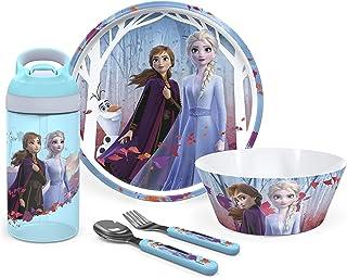 Zak Designs Disney Frozen II Movie Dinnerware Set Includes Plate, Bowl, Water Bottle, and Utensil Tableware, Made of Durab...