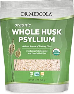 Dr. Mercola Organic Whole Husk Psyllium, 68 Servings(12 oz.), Non GMO, Gluten Free, Soy Free, USDA Organic