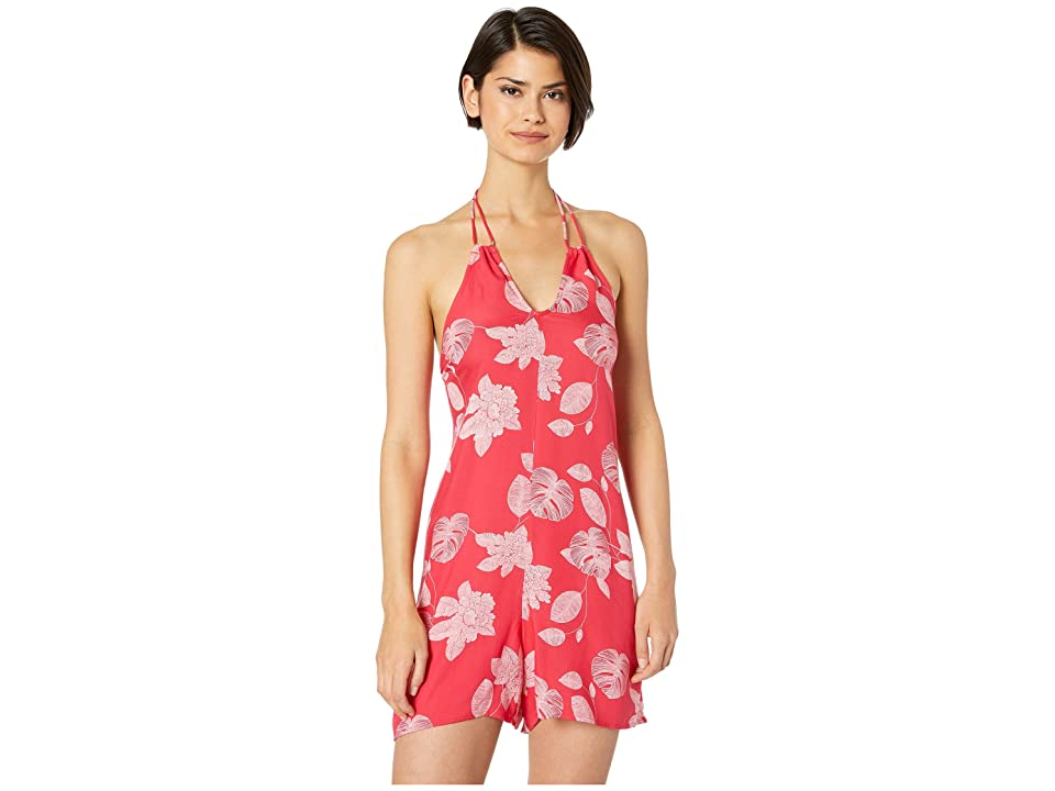 Roxy Yellow Sunday Strappy Halter Romper (Barberry Flower of Love) Women