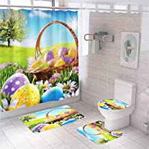 Hooks э 4pcs Tiger Cat Shower Curtain Bathroom Carpet Rug Toilet Cover Mat Set