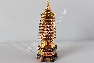 Beijing Golden Oriental Chinese Feng Shui Harmony Pagoda Statue 9 Tier New