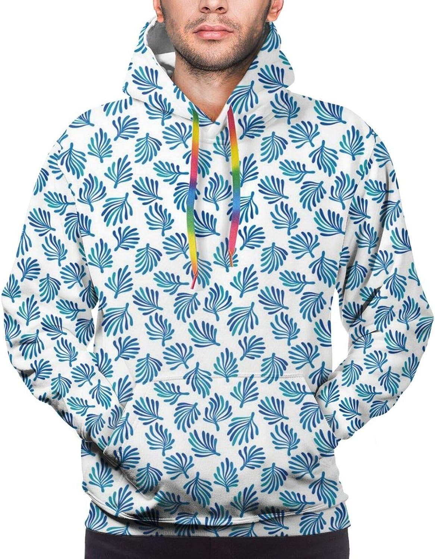 Men's Hoodies Sweatshirts,Simplistic Sea Waves Boat Adventure Hand Drawn Repetitive Graphic