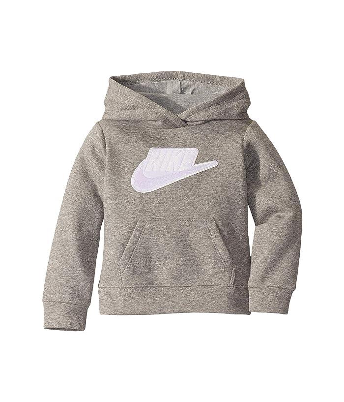 Nike Kids  Sueded Fleece Iridescent Logo Pullover Hoodie (Toddler) (Dark Heather Grey) Girls Clothing