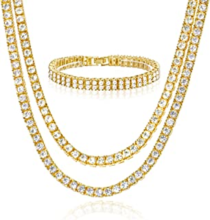 """metaltree98 18"""" / 20"""" 14k Gold/Silver Plated Double Tennis Chain & 2 Row X 8"""" Bracelet Set Men`s Women`s Necklace (Gold Toned)"""