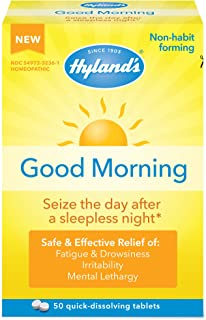 Jet Lag Homeopathic Relief Remedy Tablets by Hyland's Good Morning, Quick Dissolving Natural Relief of Fatigue, Irritabili...