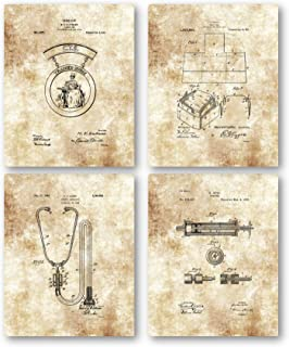 Original Nurse Patent Artwork - Set of 4 8 x 10 Unframed Patent Prints - Great Gift for Nurses, Nursing Students - Classic Decor for Home Office, Triage Area, Hospital, or Doctor's Office