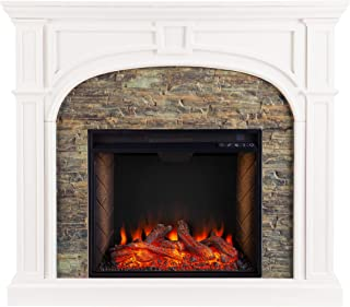 Southern Enterprises Tanaya Alexa-Enabled Smart Fireplace with Faux Stone, White