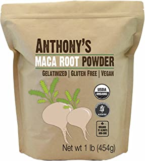 Anthony's Organic Maca Root Powder, 1lb, Gelatinized for Enhanced Bioavailability, Gluten Free & Non GMO