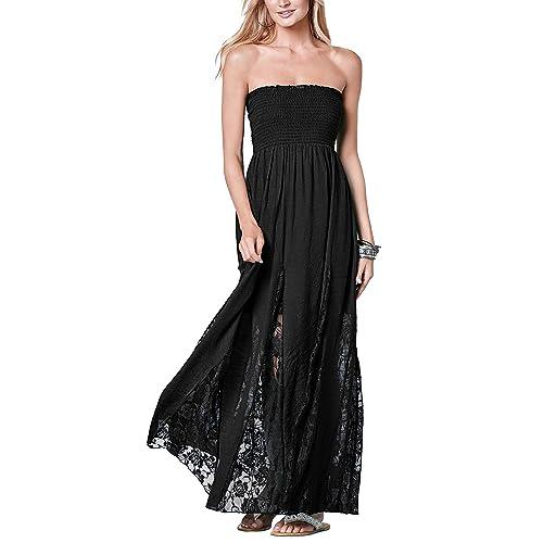 c8cb18a55b Jusfitsu Women s Tube Top Strapless Floral Lace Evening Party Dress Cotton Long  Maxi Dresses