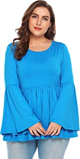 IN'VOLAND Women's Plus Size Long Bell Sleeves Flared Ruffle Blouse Round Neck Tunic Top