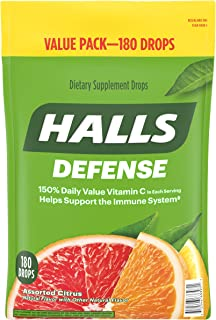 HALLS Defense Assorted Citrus Vitamin C Drops, 180 Drops