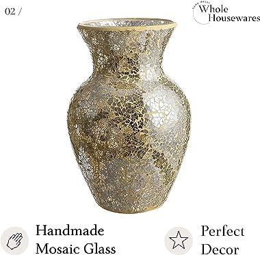 "10.5"" Tall Mosaic Glass Vase (Gold)"