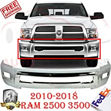 New Front Bumper Chrome Steel For 2010-2018 Dodge Ram 2500 3500 SLT Laramie Extended Crew Cab Pickup With Fog light Holes W/o Parking Aid Sensor Holes Direct Replacement CH1002390