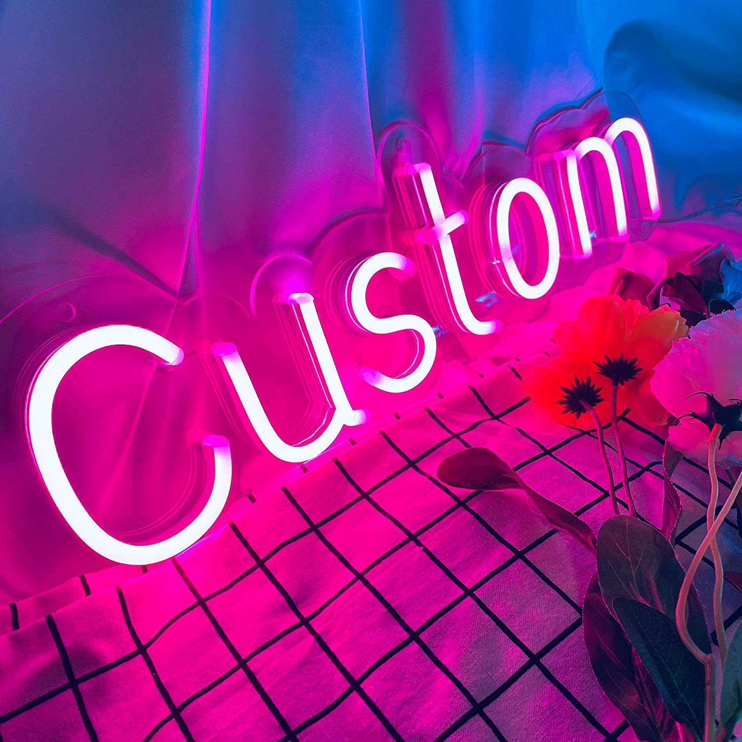 """SELICOR Personalized Neon Signs Led Neon Signs Light for Bedroom Wedding  Birthday Party Home Décor Custom Neon Sign Bar Store Logo Neon Sign (1 Line  Text, Max 16"""") - - Amazon.com"""