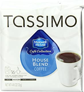 Tassimo MAXWELL HOUSE Cafe Collection, House Blend Coffee, Medium Roast, 16-Count T-Discs, 4.45 Oz (Pack of 2)