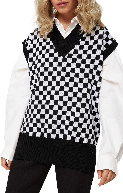 SAFRISIOR Women Ovesized Checkered Plaid Pattern Knit Sweater Vest Sleeveless V-Neck Sweater Pullover Knitwear Tank