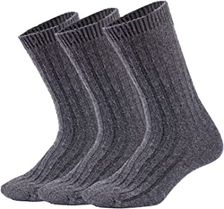 Mens Wool Socks Winter Warm Crew Socks Soft Knit Thick Thermal Cozy Casual Dress, Multicolor, 3/6Pack