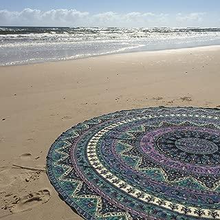 Labhanshi Indian Mandala Round Roundie Beach Throw Tapestry Hippy Boho Gypsy Cotton Tablecloth Beach Towel, Round Yoga Mat