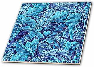 3dRose Beautiful William Morris Acanthus Leaf Pattern in Blue - Ceramic Tile, 6-Inch (ct_220190_2)