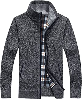 XinYangNi Men's Relax Classic Cardigan Cashmere Wool Blend Sweaters with Pockets Dark Grey US 2XL/Asia 6XL