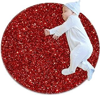 Rött glitter paljetter mönster, barn rund matta polyester överkast matta mjuk pedagogisk tvättbar matta barnkammare tipi t...