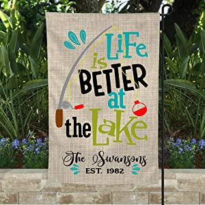 PANSY Custom Garden Flag-Life is Better at The Lake-Lake House-Garden Flag-Lake House Flag-Personalized Flag-Beach Flag-Beach House-Better at The Lake-Custom Gifts