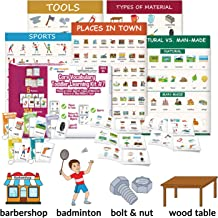 Little Champion Reader Teach Core Vocabulary Toddler Learning Kit 7 : Places in Town, Nature vs. Man-Made Objects, Types of Material, Sports & Tools