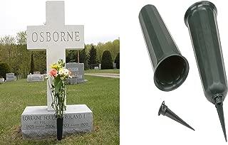 Set of 2 Cemetery Grave Patriotic Memorial Veterans Flower Cone Vase