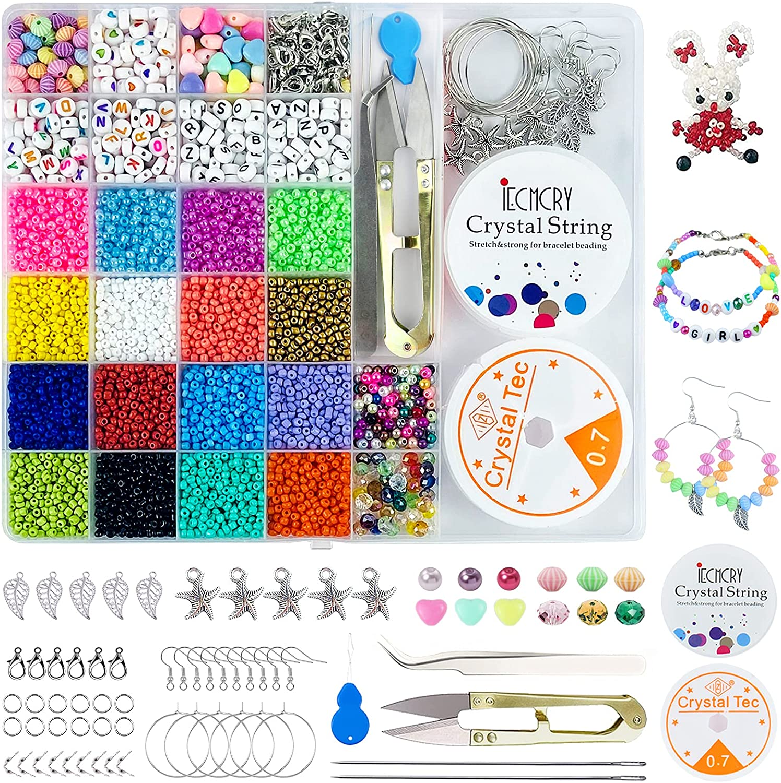 UNIVERTEN Kit Abalorios para Hacer Pulseras Cuentas de Colores Cuentas de Cristal Abalorios Letras, Bolitas para Hacer Collares Pulseras Pendientes Niños Adulto Kit Jewelry Making de DIY (3857 PCS)